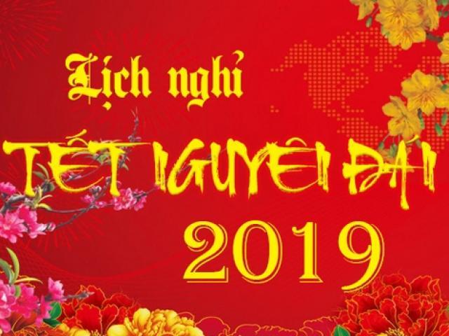 Thông tin chính thức lịch nghỉ Tết Âm lịch 2019
