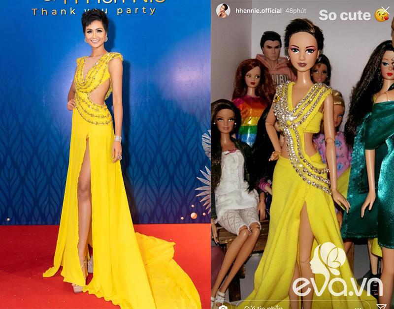 H'Hen Niê vui mừng và thích thú vì được fans quốc tế làm búp bê phiên bản để tặng cho cô. Thiết kế vàng rực rỡ của NTK Linh San cũng được tái hiện với phiên bản cực thú vị và đẹp mắt.