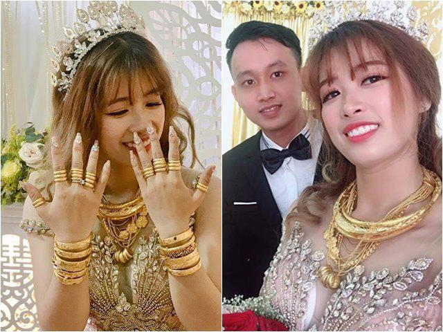Cô dâu số hưởng đeo vàng trĩu cổ, lúc nhìn sang chú rể càng ghen đỏ mắt