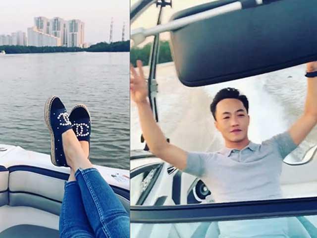 Sao Việt 24h: Cường Đô La lái ca nô sang chảnh, vợ sắp cưới gác chân thưởng ngoạn