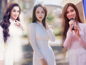 Hương Giang lấn lướt Lâm Khánh Chi và Nhật Hà khi cùng diện áo dài trắng tinh khôi