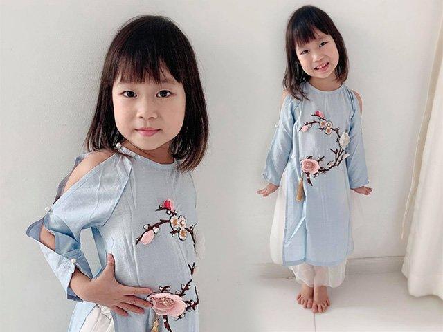 Tết chưa đến mà con gái Lý Hải Minh Hà đã diện áo dài thêu hoa rộn ràng sắc Xuân