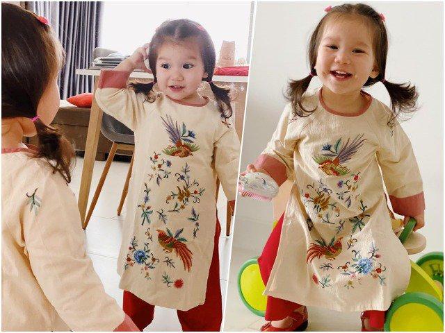 Diện áo dài Tết quá xinh, con gái siêu mẫu Hà Anh được khen ngợi hết nấc