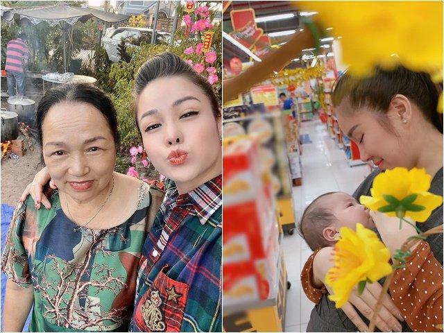 Tết cận kề, Nhật Kim Anh về quê sau khi tạm biệt con, Lê Phương bế heo đi siêu thị