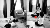 Phạm Hương vừa tập yoga giữ dáng vừa chăm con trai làm hội chị em thán phục