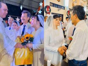 Cử chỉ ngọt ngào danh ca Hương Lan dành cho chồng trong lễ cưới thứ 2 ở tuổi 64