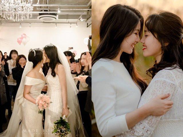 Cặp đồng tính nữ Hàn Quốc kết hôn, dân mạng rần rần khen ngợi vì quá đẹp đôi