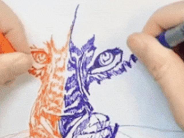 Chàng trai vẽ tranh bằng cả hai tay cùng lúc khiến nhiều người kinh ngạc