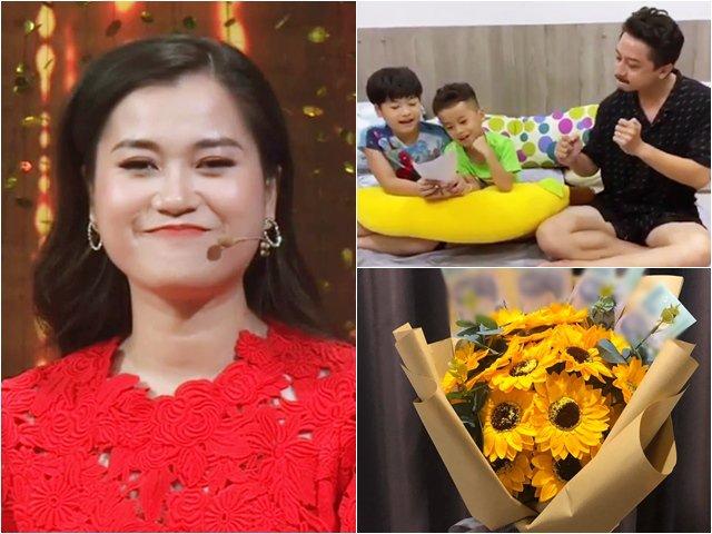 Lâm Vỹ Dạ được chồng tặng hoa kèm tiền mặt, bài thơ của 3 bố con càng ấm lòng hơn