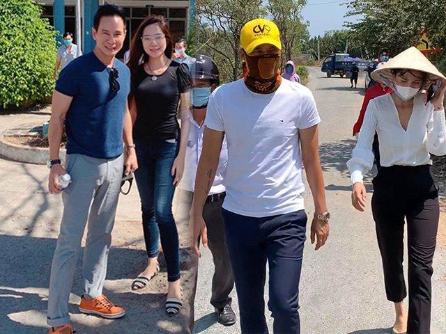 Không hẹn mà gặp,vợ chồng Thủy Tiên, vợ chồng Lý Hải đềuchung gout ăn mặc đi chống hạn mặn