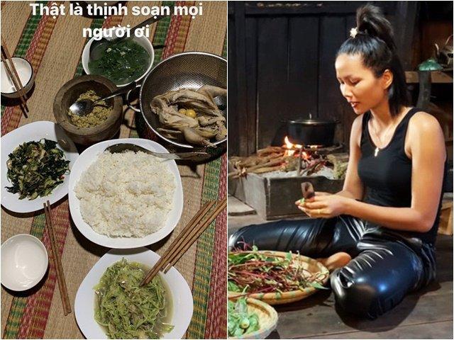 Hoa hậu HHen Niê ứa nước miếng, thấy sướng và đã khi khoe mâm cơm đãi khách ở quê