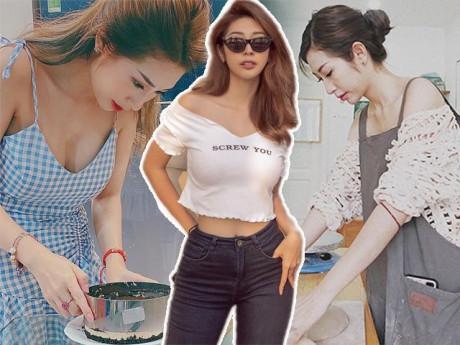 Khổng Tú Quỳnh ngày càng hở bạo, vào bếp làm bánh cũng diện váy khoe khéo vòng một