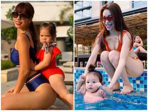 Mỹ nhân Việt diện bikini khoe dáng nô đùa cùng con nhưng tâm điểm dồn hết vào những đứa trẻ