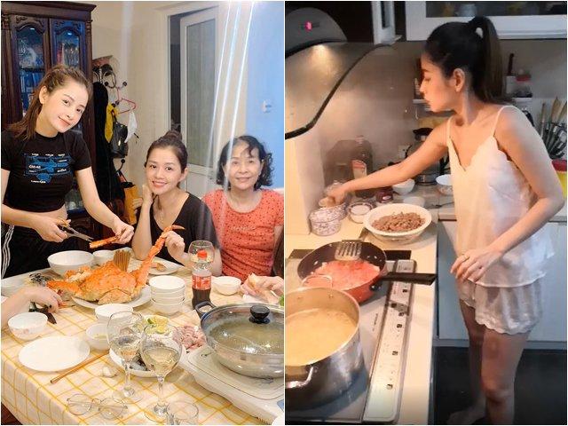 Mẹ ruột khoe Chi Pu và chị gái vào bếp, được khen Nhà 2 gái, hái ra tiền