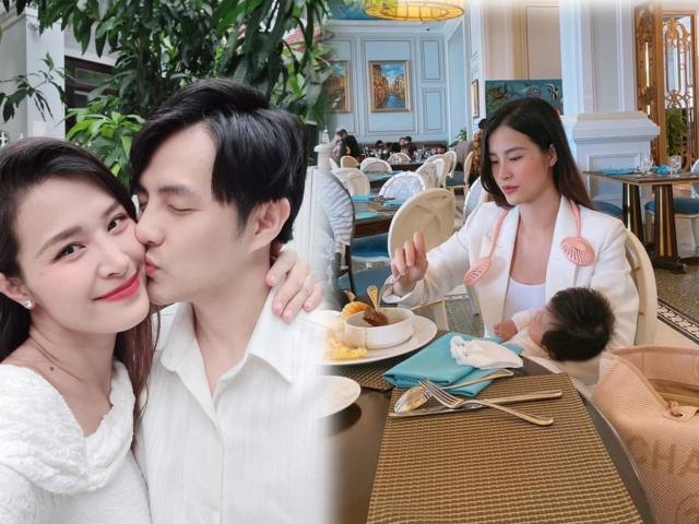 Lên đồ sang chảnh dự tiệc cùng chồng chủ tịch, Đông Nhi vẫn tay bồng con tay ăn uống