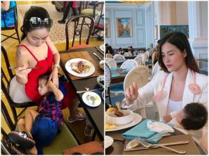 Trên sâu khấu lung linh, hàng chục mỹ nhân Việt bị chụp cảnh chăm con tất tả nơi công cộng