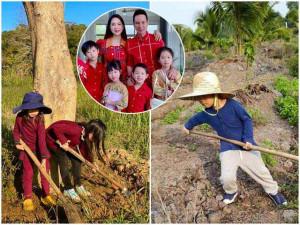 Lý Hải Minh Hà đăng ảnh cho 4 con tập cuốc đất, trồng cây
