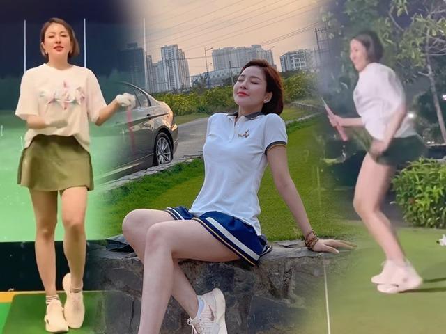 Trâm Anh làm người xem hú tim khi diện váy siêu ngắn đánh golf