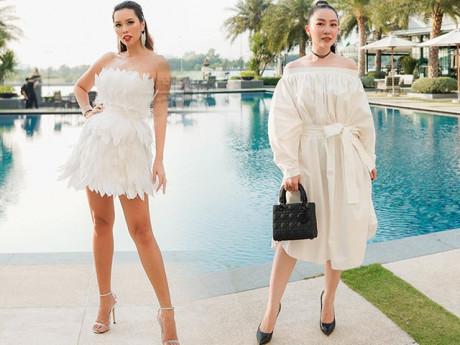 """Cùng diện váy trắng, Hà Anh quyến rũ bao nhiêu,""""Chim công làng múa"""" thanh lịch bấy nhiêu"""