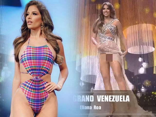 Quá nhập tâm trình diễn phần thi dạ hội, hoa hậu Venezuela gặp sự cốtrên sóng Miss Grand International