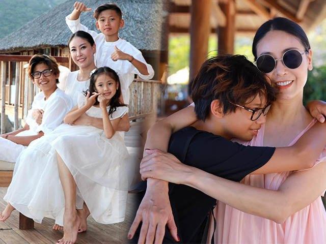 Hà Kiều Anh khoe ảnh gia đình đẹp như tranh, các con xinh xắn chuẩn gen hoa hậu