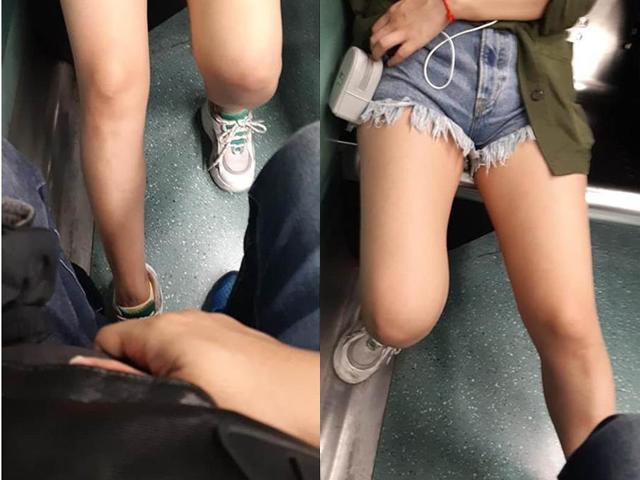 Cô gái ngồi đối diện mặc quần ngắn lại có tư thế kỳ lạ, nam thanh niên bối rối