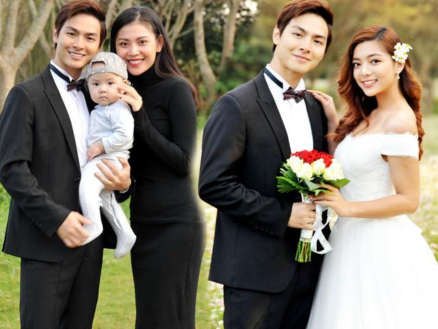 Chúng Huyền Thanh bế con trai đầu lòng đi canh chừng ông xã chụp ảnh cưới với gái lạ