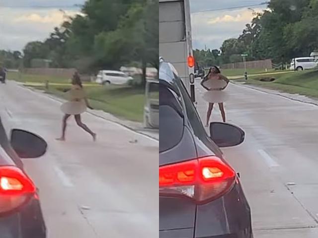 Tranh chấp giao thông, người phụ nữ đột nhiên lột quần áo làm điều kỳ lạ giữa đường cao tốc