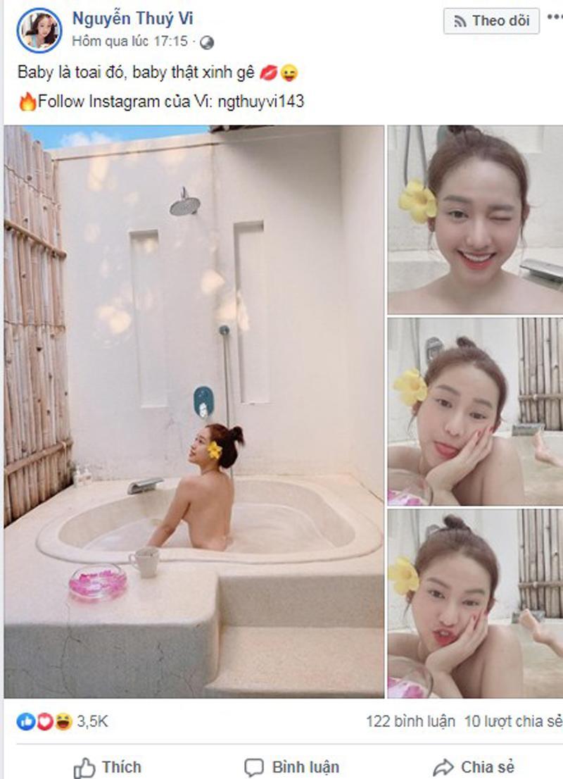 Cách đây ít giờ, trên trang Facebook cá nhân, cô nàng Thúy Vi khiến cộng đồng mạng dậy sóngkhi chia sẻ loạt ảnh nude trong bồn tắm khiến ai cũng không thể rời mắt.