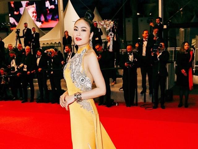 Hoa hậu Tuyết Nga nổi bật tại LHP Cannes trong trang phục váy thêu phượng hoàng, hoa sen