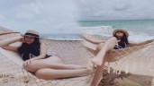 Phạm Quỳnh Anh mặc bikini cắt xẻ táo bạo khoe body rực lửa, tạo dáng gợi cảm trên bờ biển