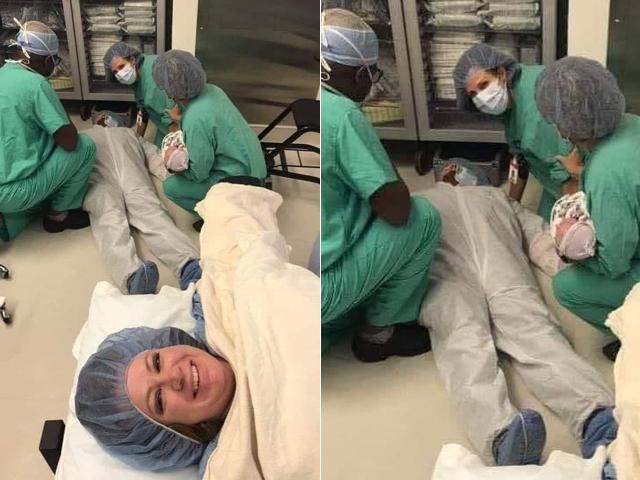 Cùng vợ vào phòng sinh, vừa nhìn cảnh đẻ chồng lăn đùng ra ngất