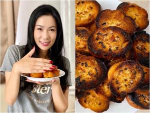 Cả showbiz hóa Master Chef, Trịnh Kim Chi làm bánh cháy thành than vẫn được chồng khen