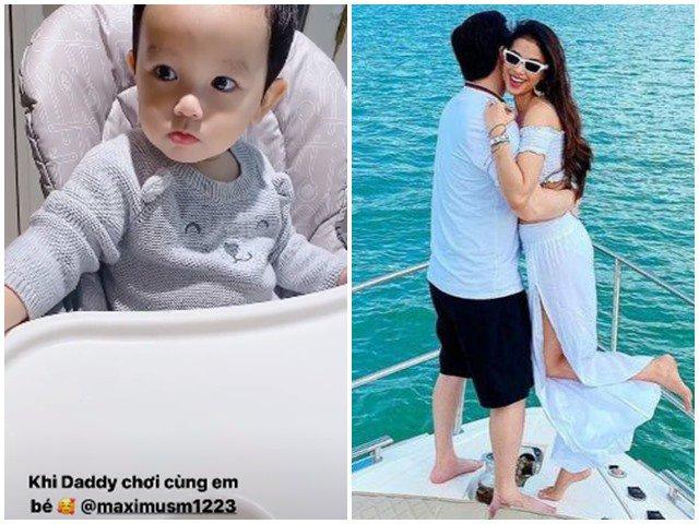 Hoa hậu Phạm Hương lần đầu đăng video con trai cực thích thú khi chơi cùng ba