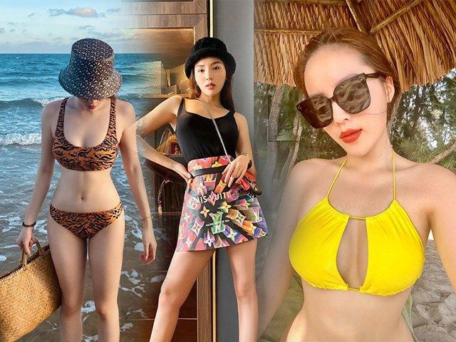 Kỳ Duyên chuyển sang diện bikini kín đáo vòng 1 để khoe khéo vòng 2 lên cơ săn chắc
