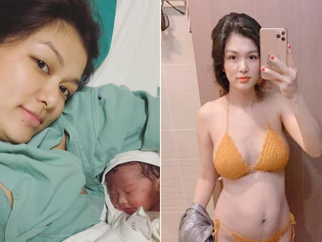 Hơn 1 tháng sau sinh lần 6, Oanh Yến khoe mình hạc xương mai nhưng bụng chuẩn bà đẻ