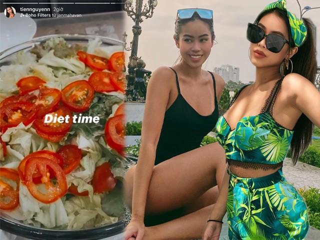 Dáng đẹp như tạc tượng, rich kid Tiên Nguyễn vẫn quyết giảm cân, chỉ ăn rau và quả