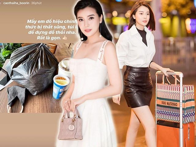 Tiết kiệm như Cao Thái Hà: có cả lô túi hiệu tiền tỷ lại dùng túi ni lông đựng đồ
