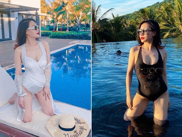 Bà xã Thành Trung mặc bikini tạo dáng sau sinh song thai, Hari Won vội vào bình luận