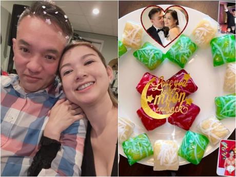 Sướng vì có chồng siêu đầu bếp, Phạm Thanh Thảo còn được mẹ chồng làm bánh chúc phúc