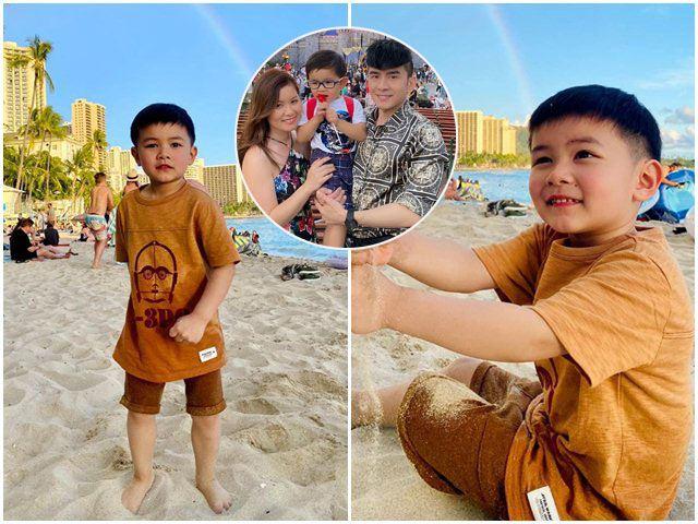 Con trai Đan Trường cùng mẹnghỉ dưỡng ở Hawaii, vóc dáng lớn bổng, giống bố y đúc
