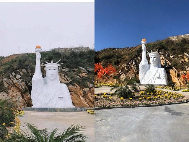 Cười bò với tượng Nữ thần Tự do phiên bản pha-ke nằm trong khu du lịch mới toanh ở Sapa
