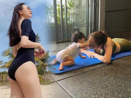 Hết chồng đến con đều giúp sức tập tành, bảo sao Đàm Thu Trang dáng ngày càng nuột