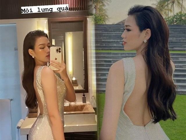 Diện váy khoét gần đến hông, Hoa hậu Đỗ Thị Hà than mỏi lưng quá!