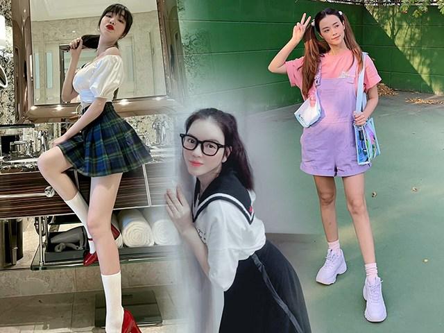 Đều U35, mỹ nhân Việt vẫn xúng xính váy áo nữ sinh: Elly Trần gợi cảm, Midu trẻ đáng gờm