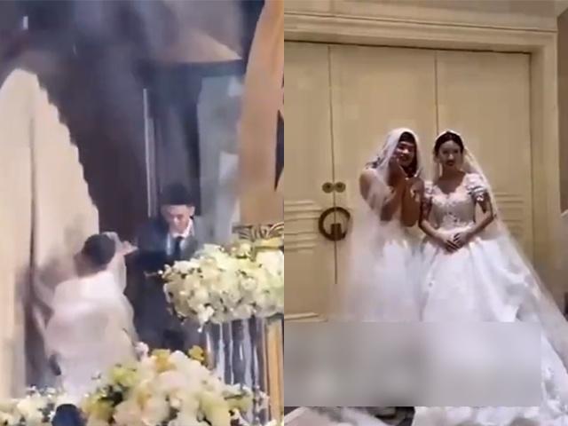 Người lạ mặc váy cô dâu, xông vào hôn trường tố cáo chú rể, CĐM bật cười với sự thật