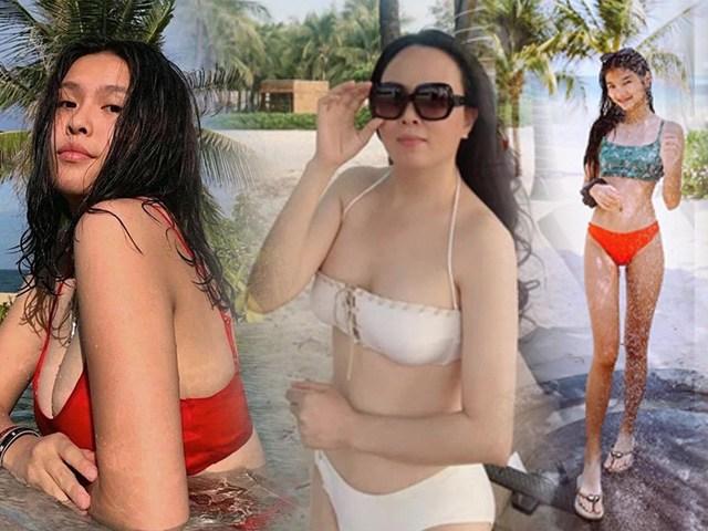Khi những cặp mẹ con hot nhất Vbiz đọ dáng cùng bikini: Gừng càng già càng cay!