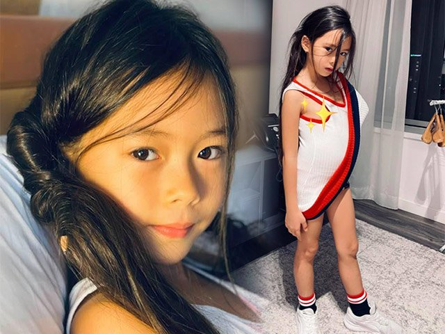 Đoan Trang thích thú vì con gái hoá người mẫu với váy tự chế