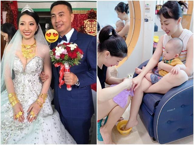 Cô dâu Hậu Giang đeo 30 cây vàng trong đám cưới, giờ làm mẹ cả ngày loay hoay bỉm sữa