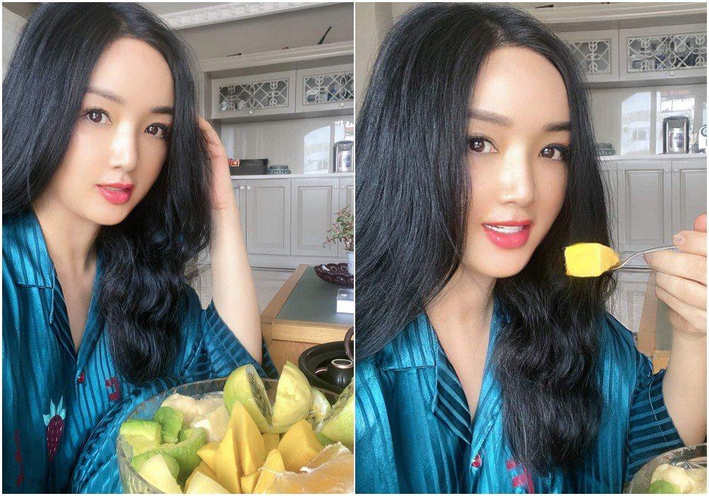 Hoa hậu Giáng My ăn cả tô trái cây toàn loại bình dân, da dáng mơn mởn đâu khó tìm!